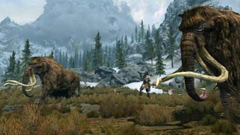 Skyrim скриншот - Великан и мамонты